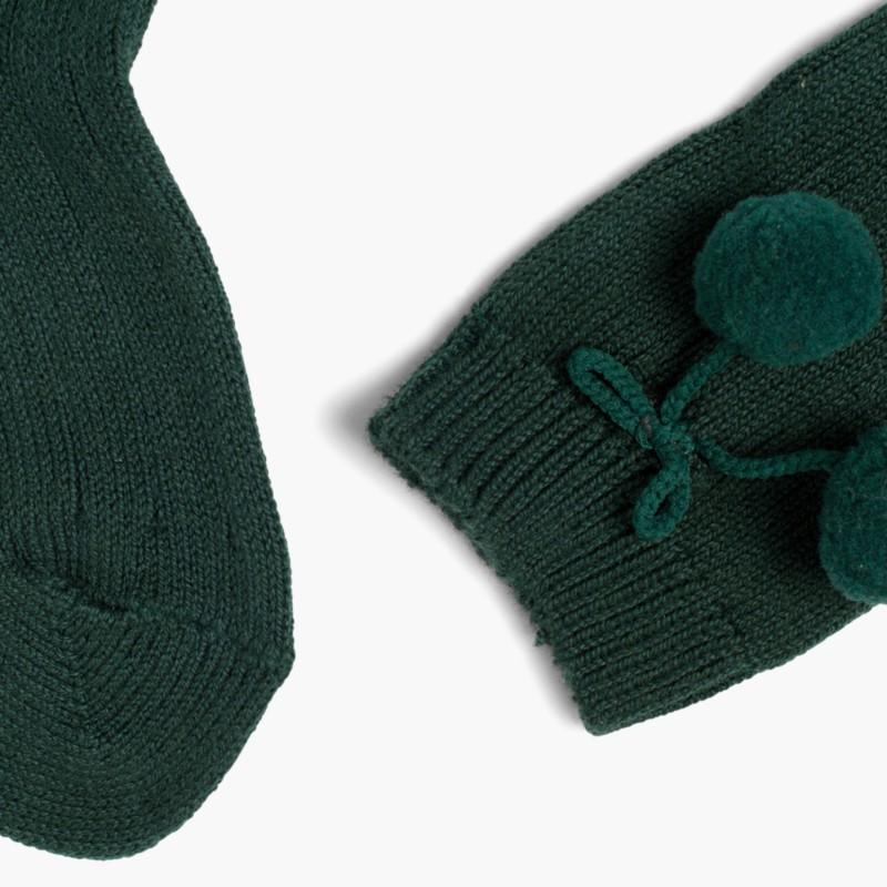 CONDOR Pom Pom Baby Socks Green