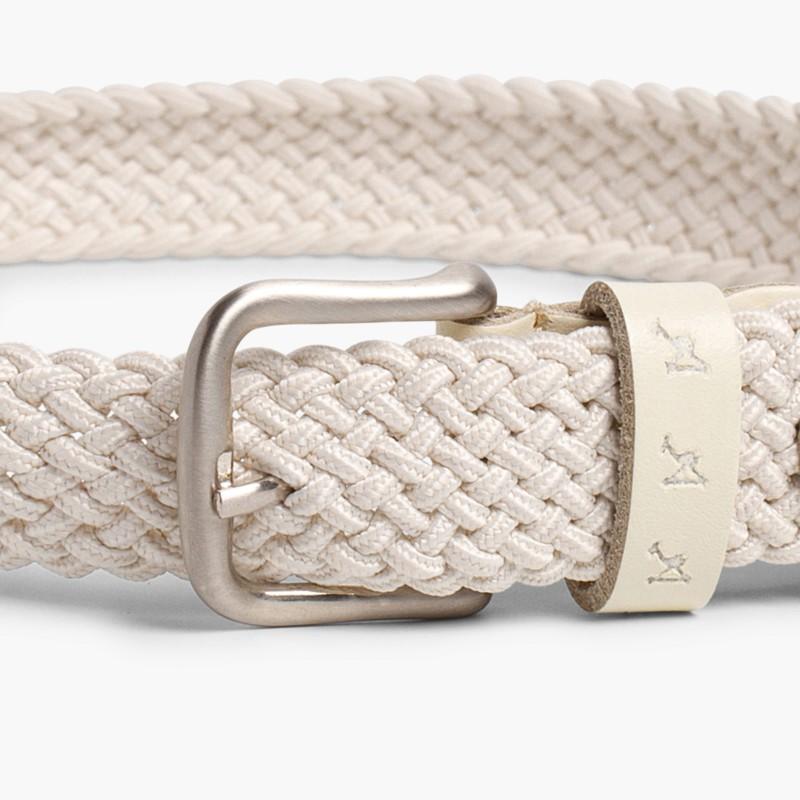 Boy's Elastic Braided Belt Off White