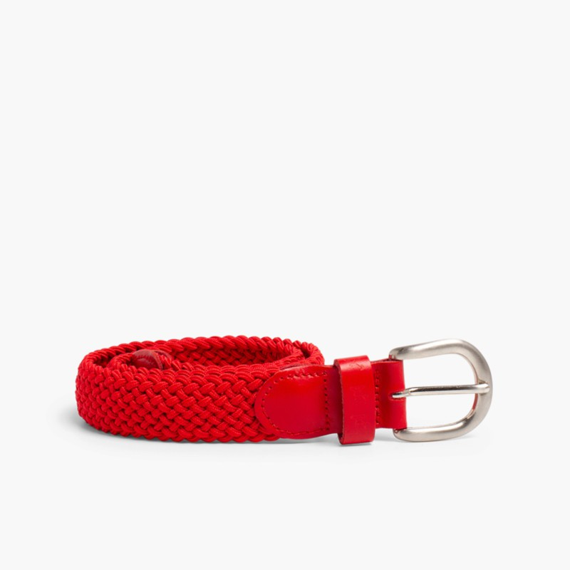 Boy's Elastic Braided Belt Red