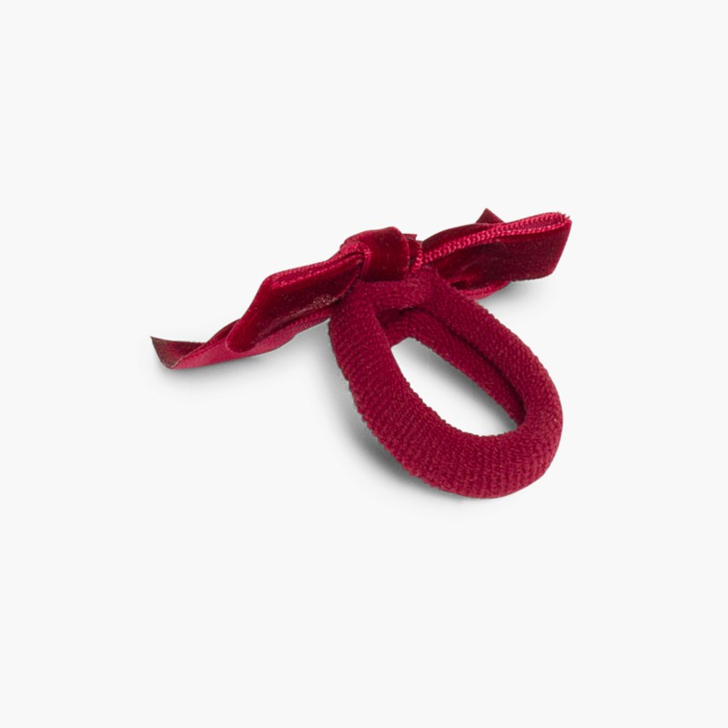 Hair tie with velvet bow Bordeaux