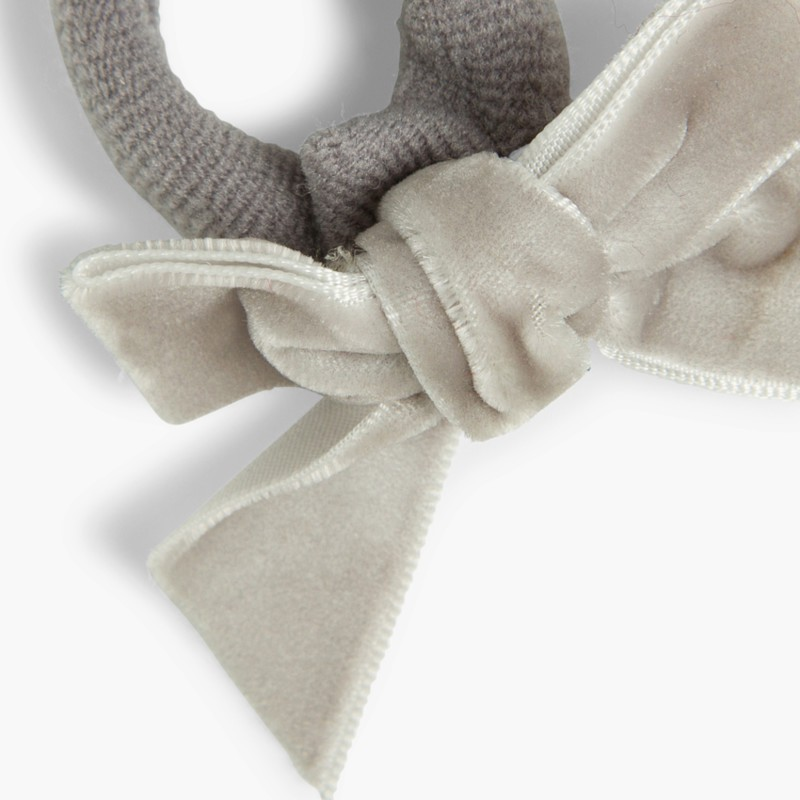 Hair tie with velvet bow Dark gray