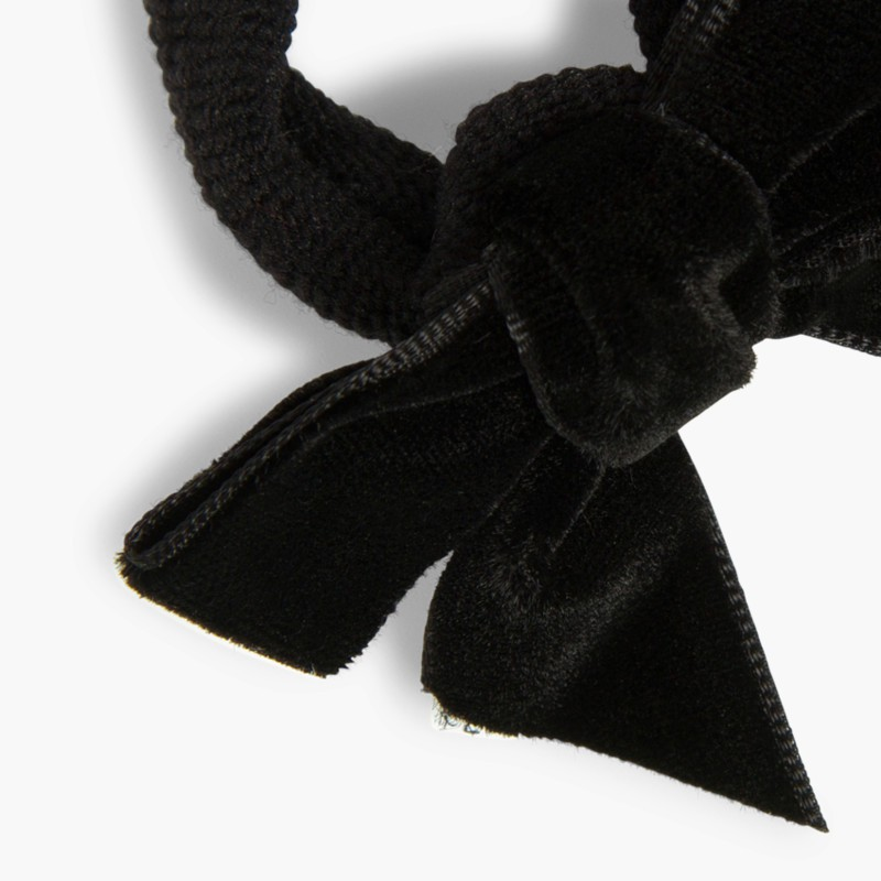 Hair tie with velvet bow Black