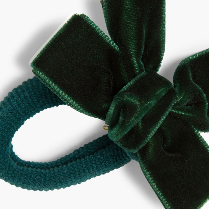 Hair tie with velvet bow Green bottle