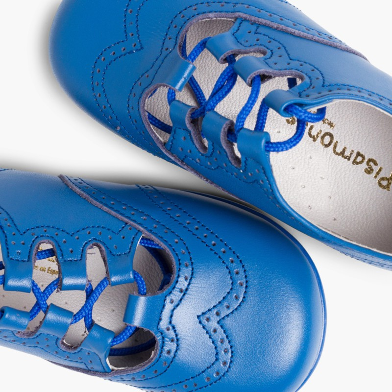 Leather Lace-Up Oxford Shoes deep blue