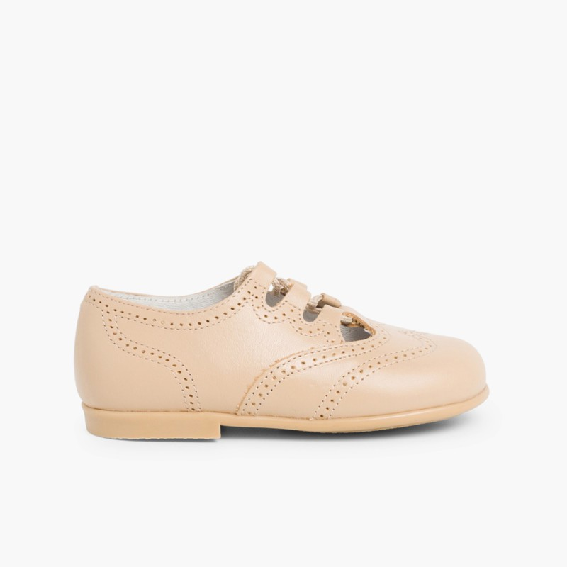 Leather Lace-Up Oxford Shoes tan