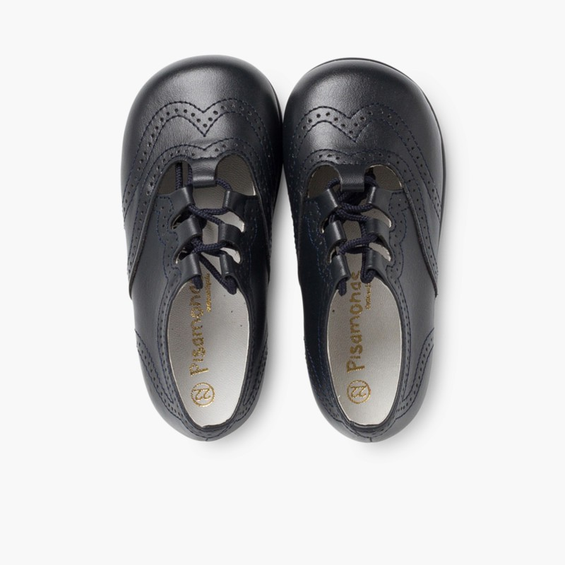 Leather Lace-Up Oxford Shoes navy blue