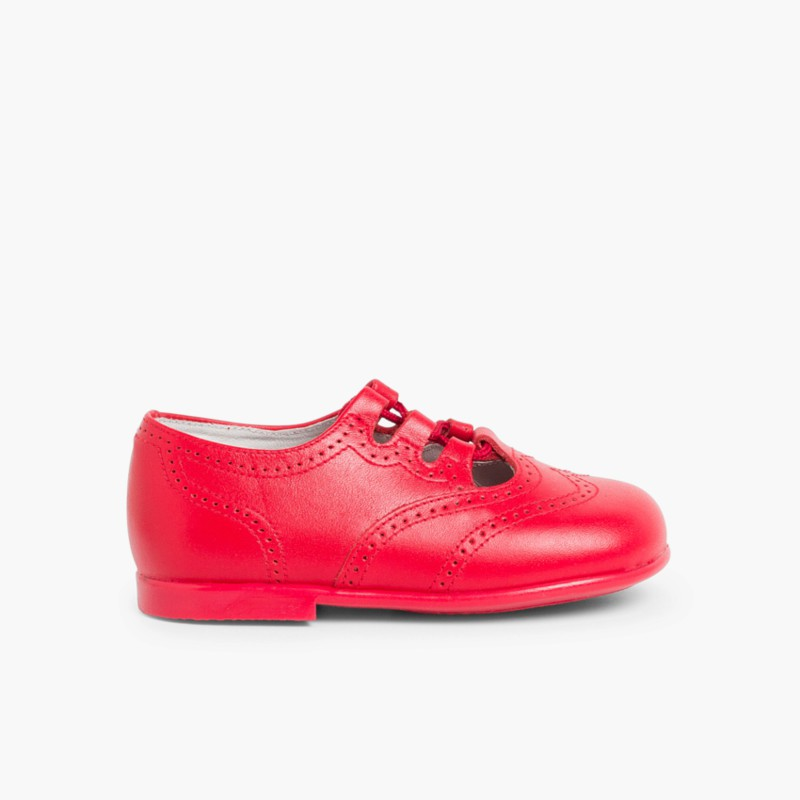 Leather Lace-Up Oxford Shoes red