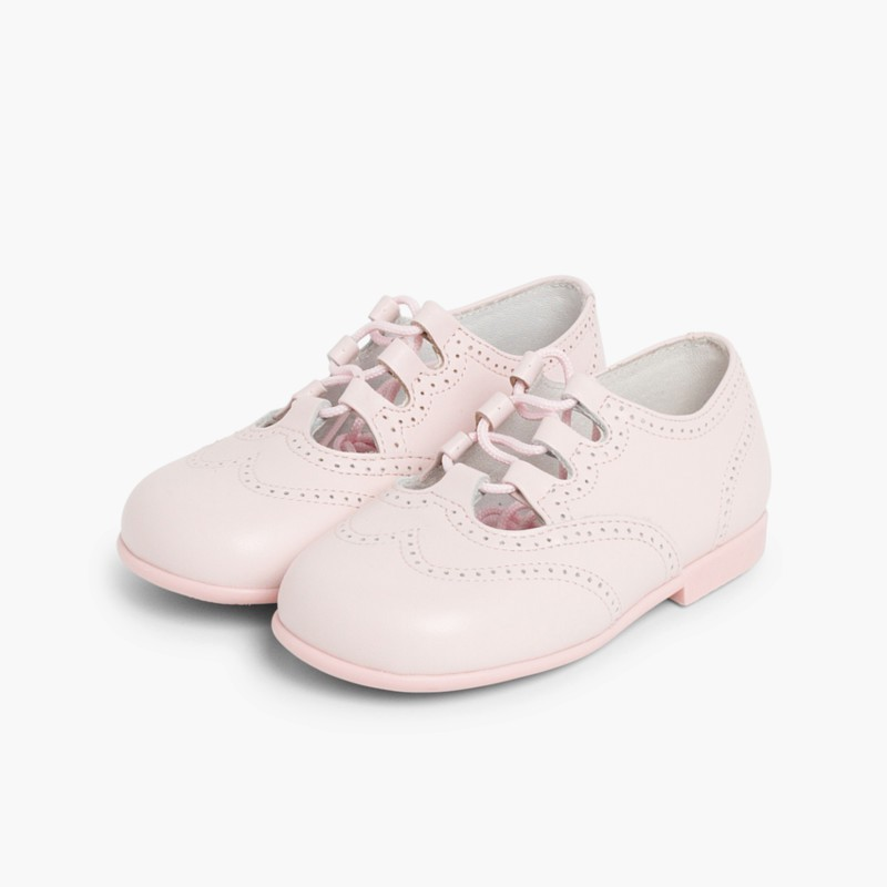 Leather Lace-Up Oxford Shoes Pink
