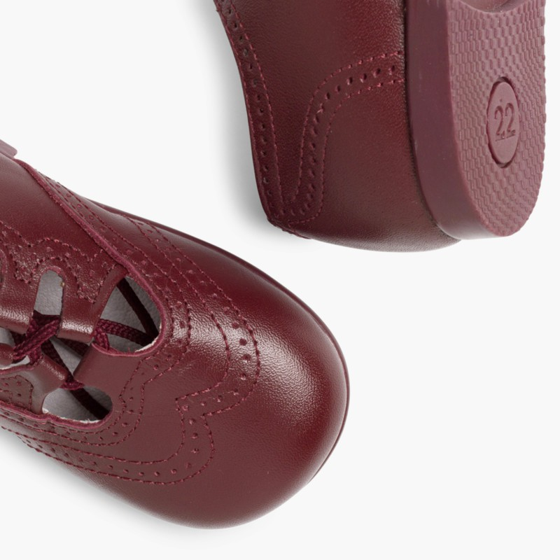 Leather Lace-Up Oxford Shoes burgundy