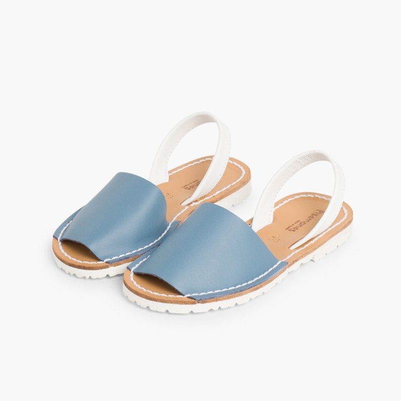Kids Two-Tone Nappa Avarca Menorcan Sandals Airforce Blue  - Special Edition White Sole