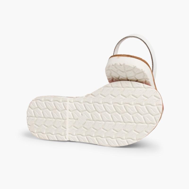 Kids Two-Tone Nappa Avarca Menorcan Sandals Fuchsia  - Special Edition White Sole