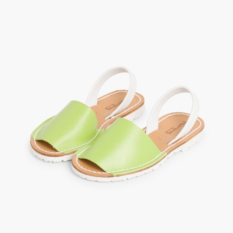 Kids Two-Tone Nappa Avarca Menorcan Sandals Pistachio Green  - Special Edition White Sole