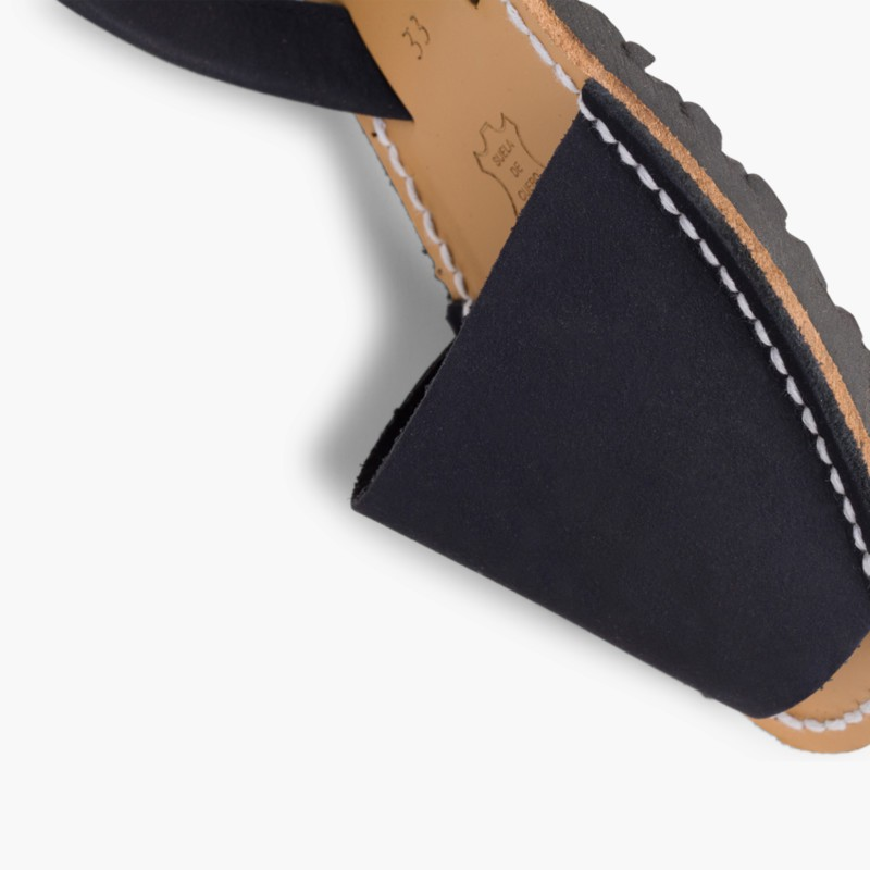 Nubuck Avarcas Menorcan Sandals Navy Blue