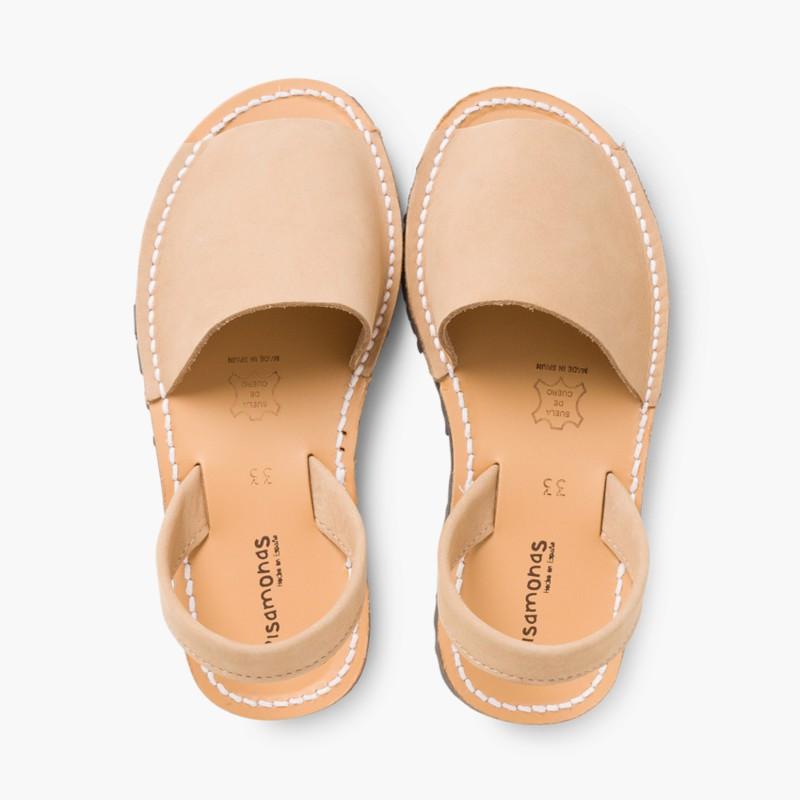 Nubuck Avarcas Menorcan Sandals Beige