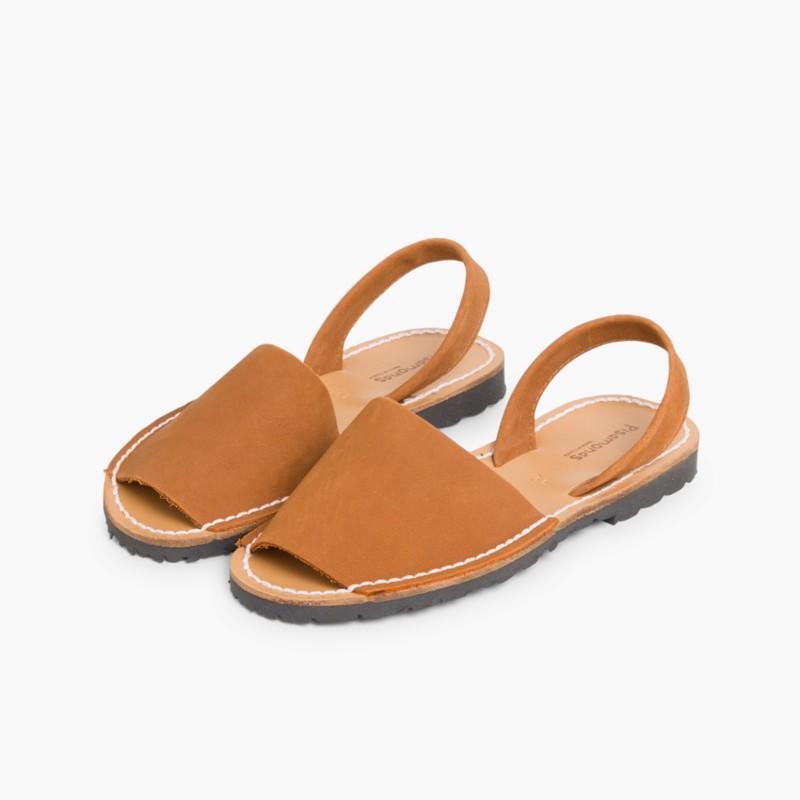 Nubuck Avarcas Menorcan Sandals Brown