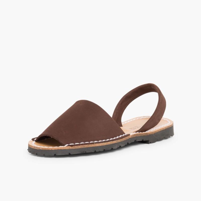Nubuck Avarcas Menorcan Sandals dark brown