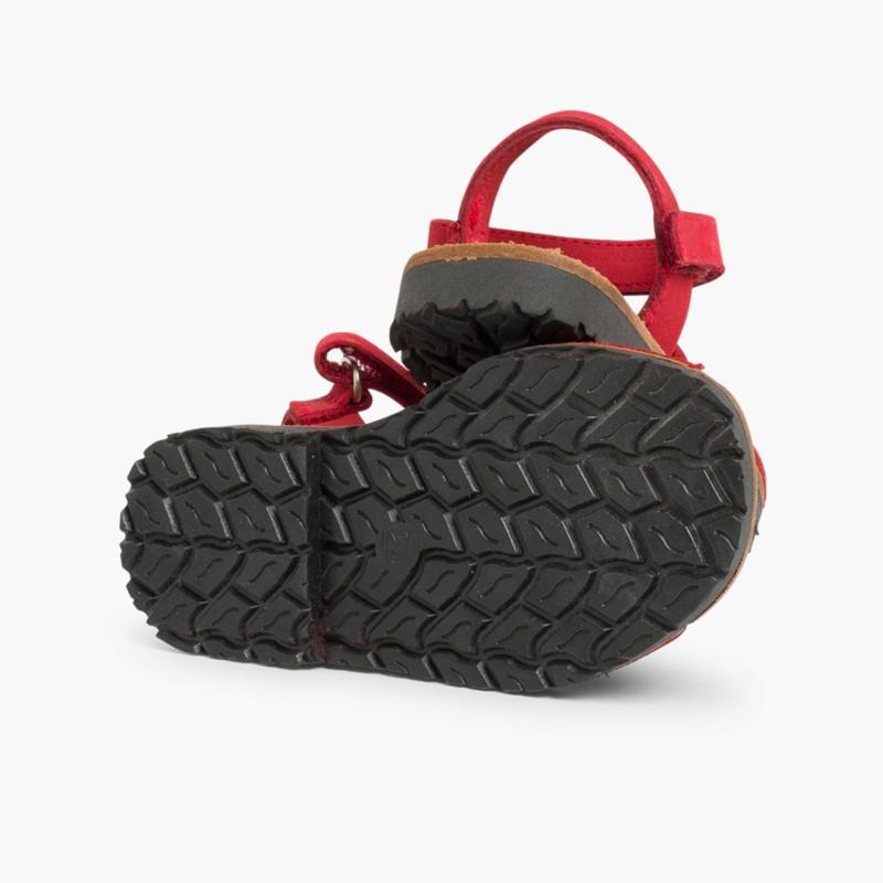 Nubuck Avarcas Menorcan Riptape Sandals Red