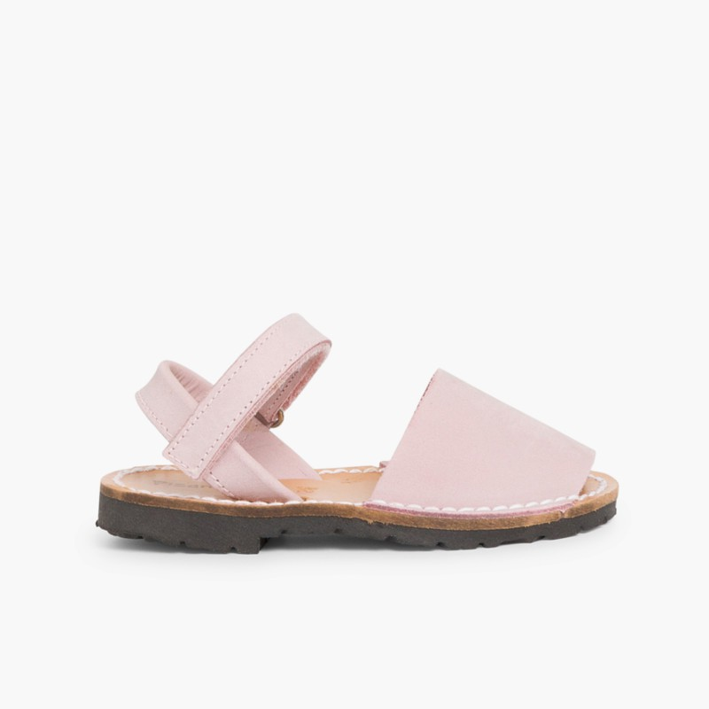 Nubuck Avarcas Menorcan Riptape Sandals White