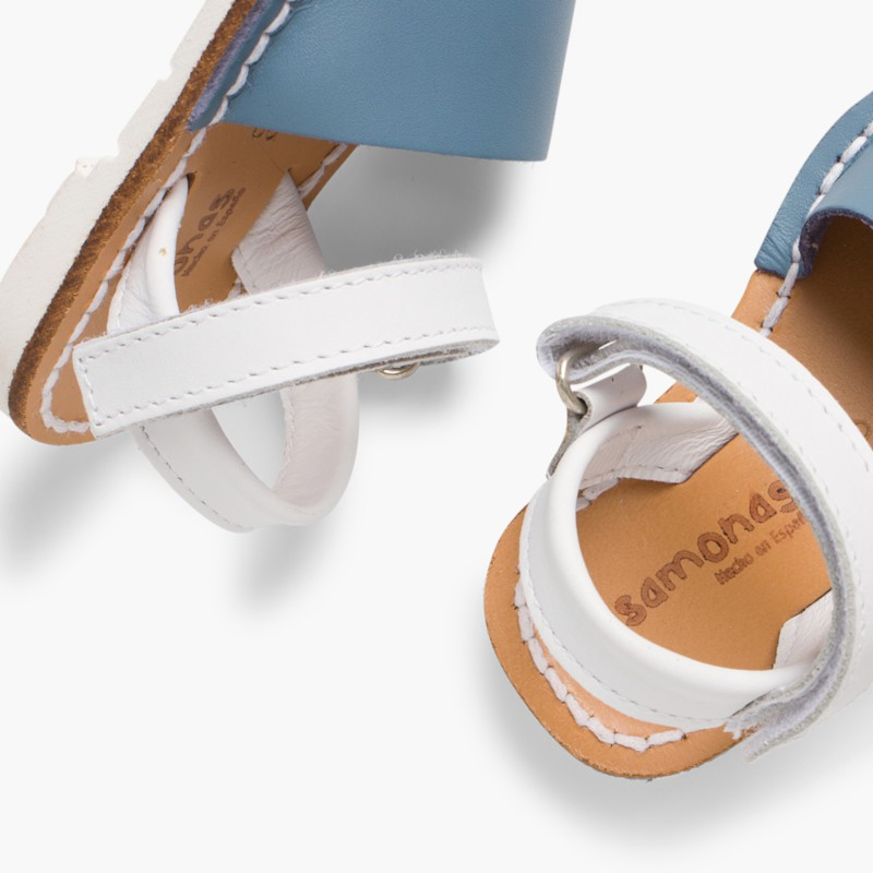 Kids Two-Tone Nappa Avarca Menorcan Sandals with Velcro Blue - Special Edition White Sole