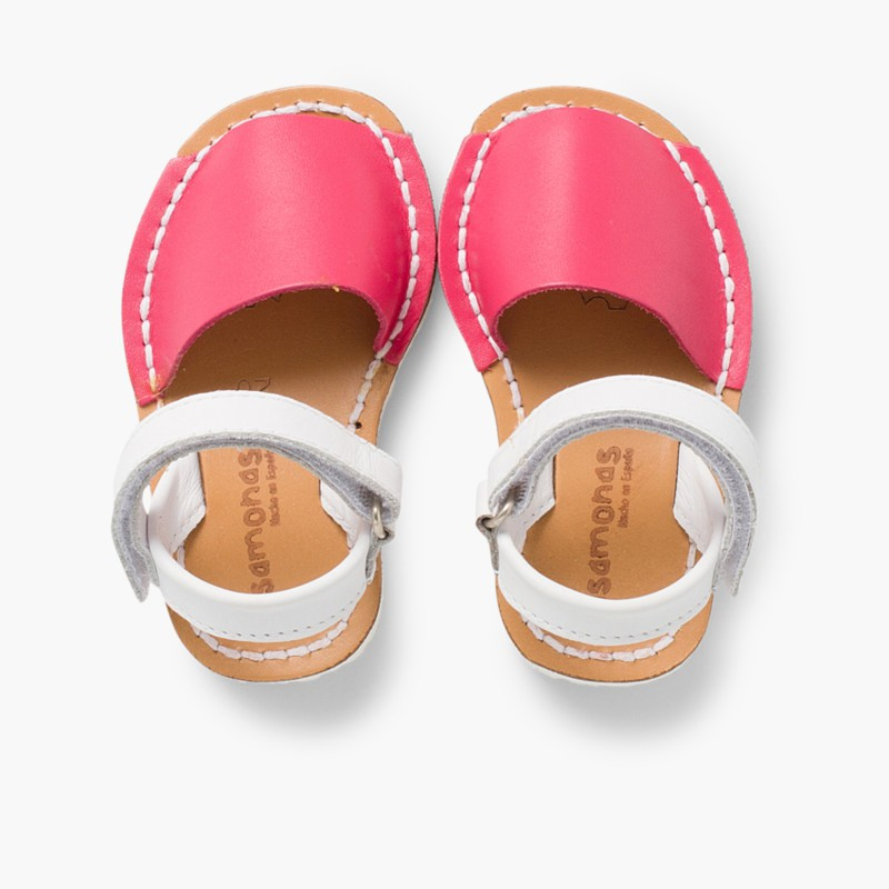 Kids Two-Tone Nappa Avarca Menorcan Sandals with Velcro Fuchsia - Special Edition White Sole