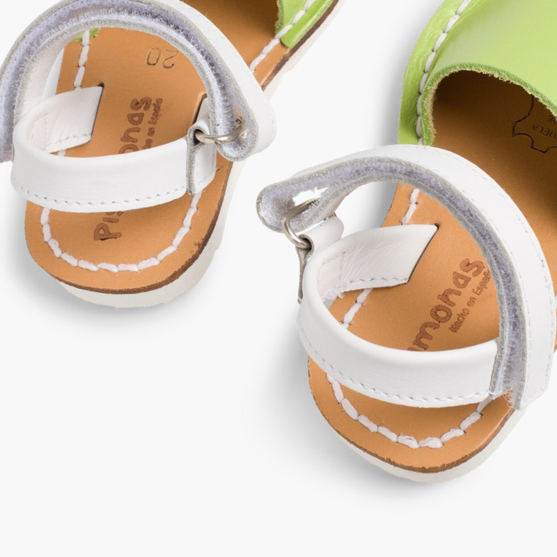 Kids Two-Tone Nappa Avarca Menorcan Sandals with Velcro Pistachio - Special Edition White Sole