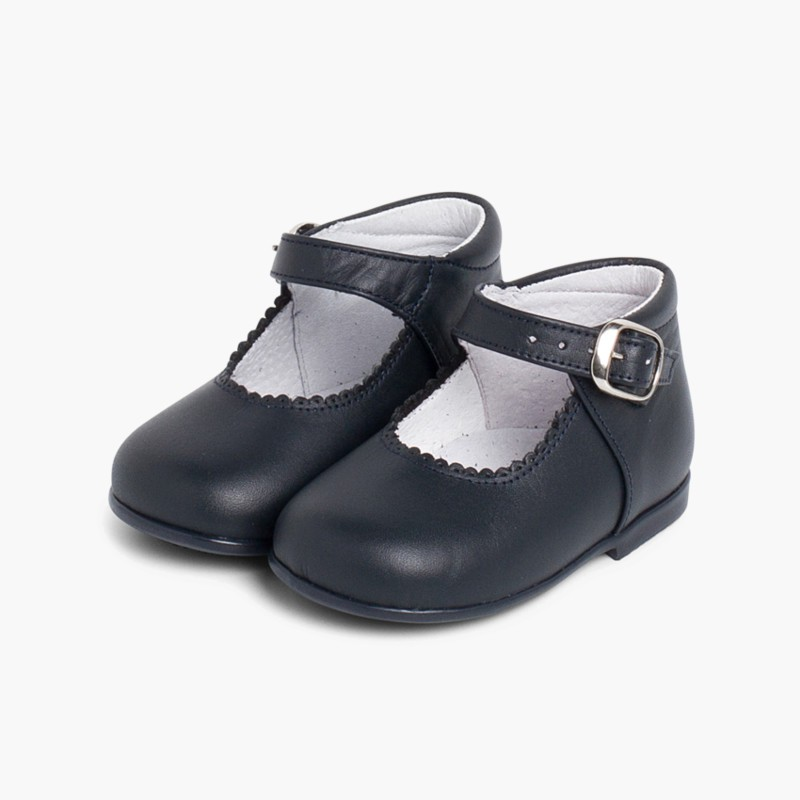 Girl's Leather Mary Janes Boots Navy Blue