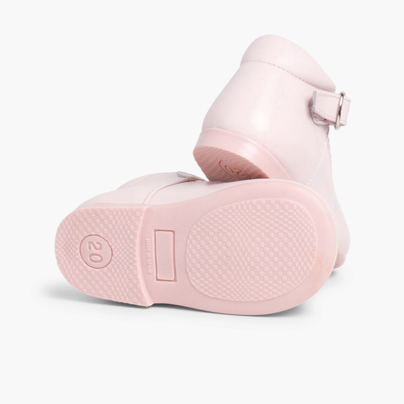 Girl's Leather Mary Janes Boots Pink