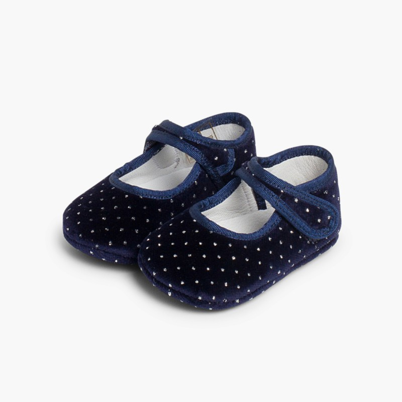 Velvet Baby Mary Janes with Sparkles dark blue