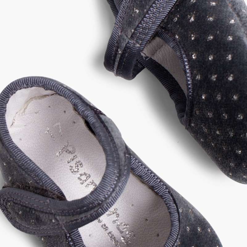 Velvet Baby Mary Janes with Sparkles grey