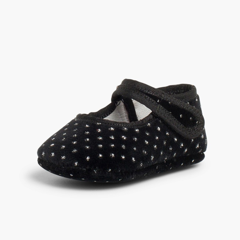 Velvet Baby Mary Janes with Sparkles black