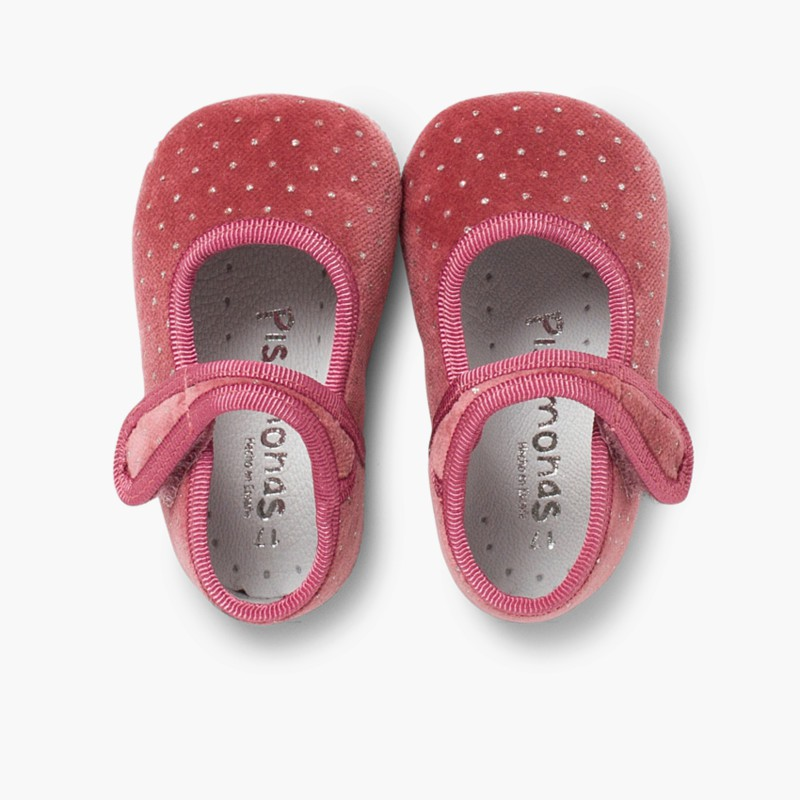 Velvet Baby Mary Janes with Sparkles pink