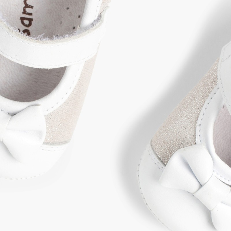 Shiny Baby Mary janes in Nappa and Leather with Velcro Silver