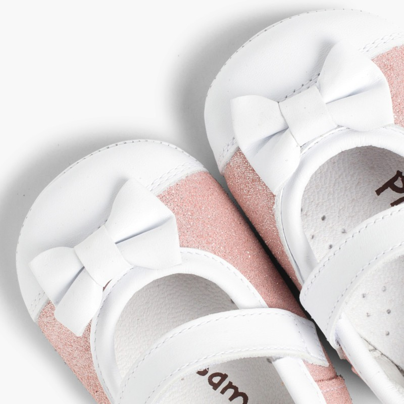 Shiny Baby Mary janes in Nappa and Leather with Velcro Pink