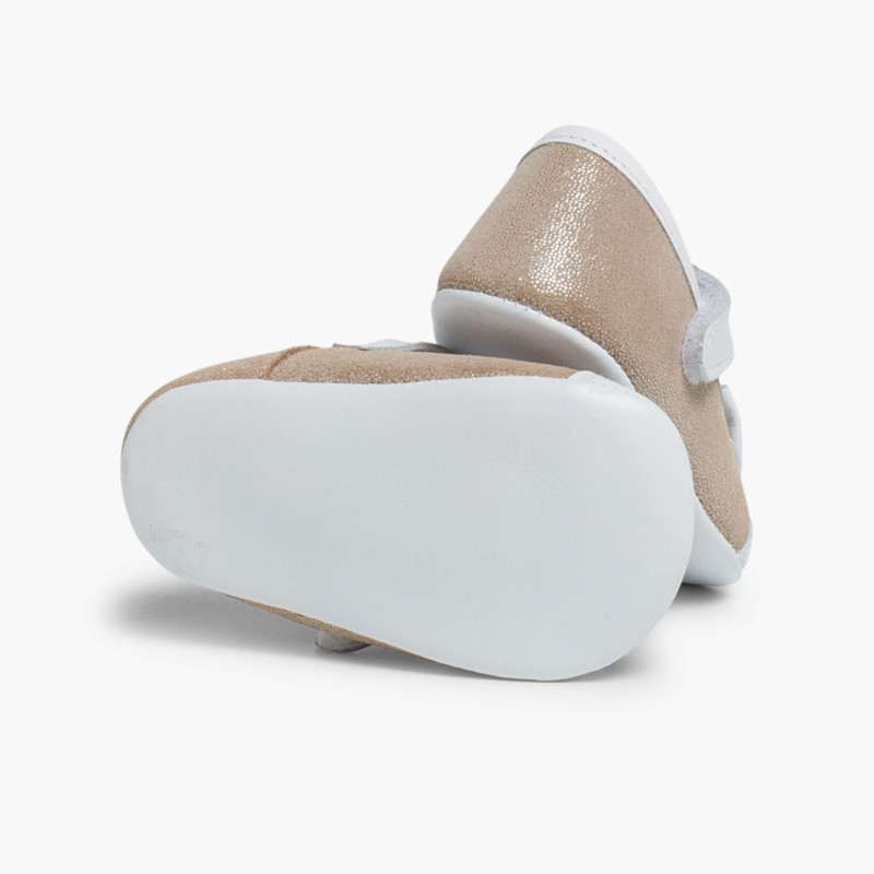 Shiny Baby Mary janes in Nappa and Leather with Velcro Gold