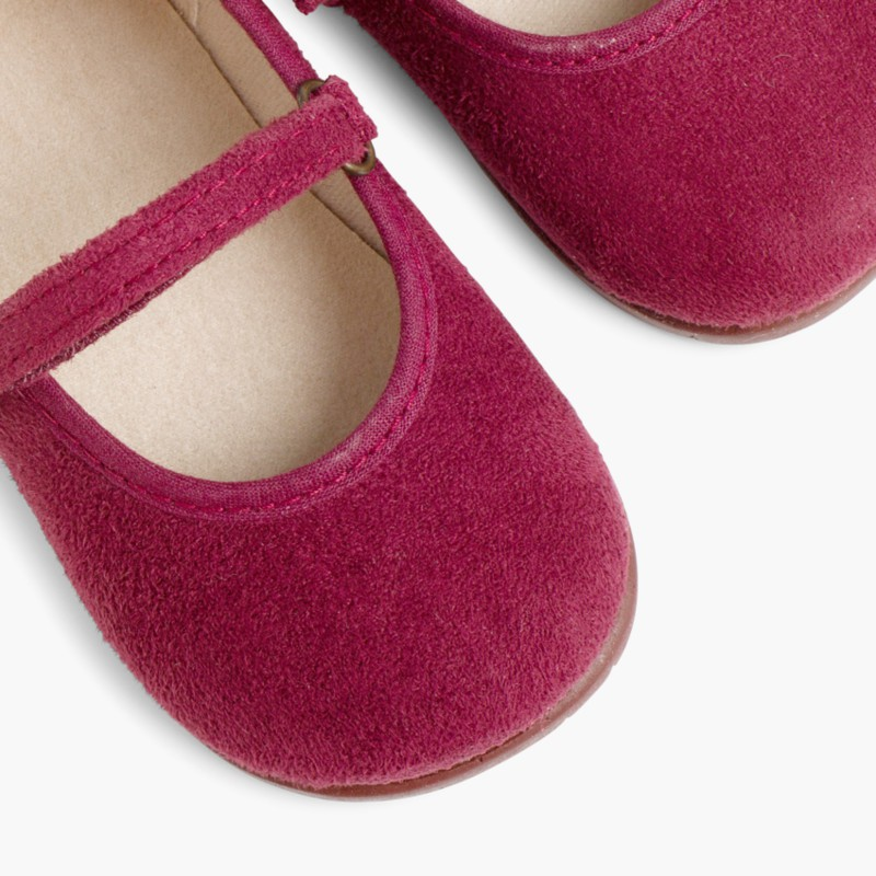 Girl's Riptape Bamara Mary Jane Shoes Burgundy