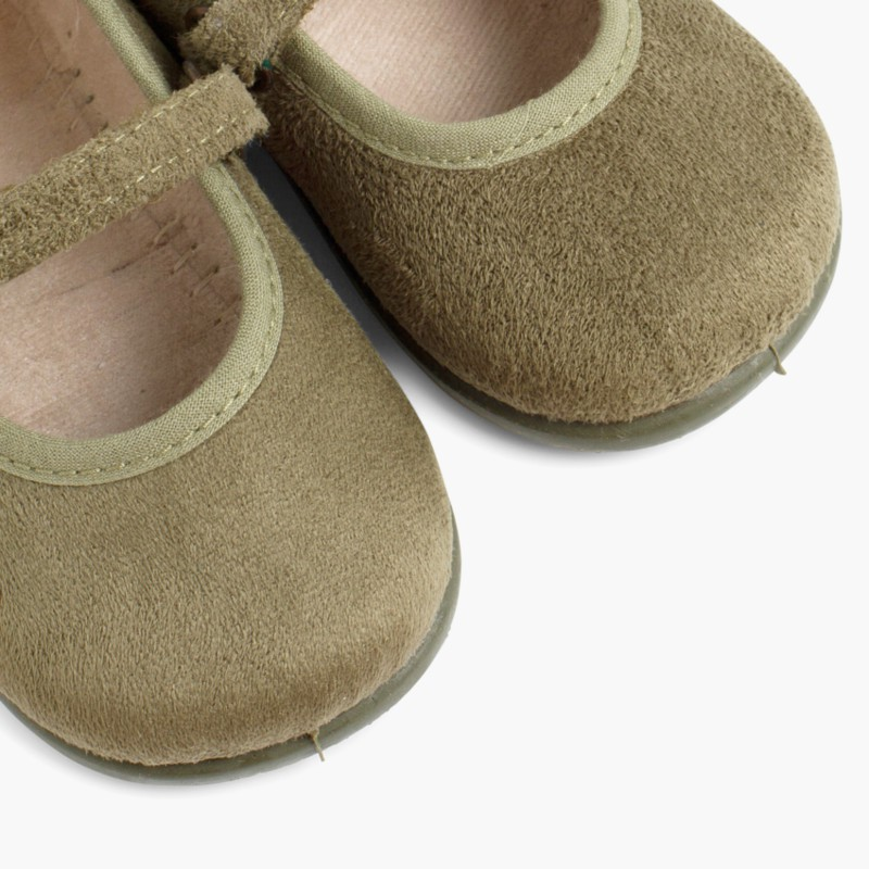 Girl's Riptape Bamara Mary Jane Shoes Khaki