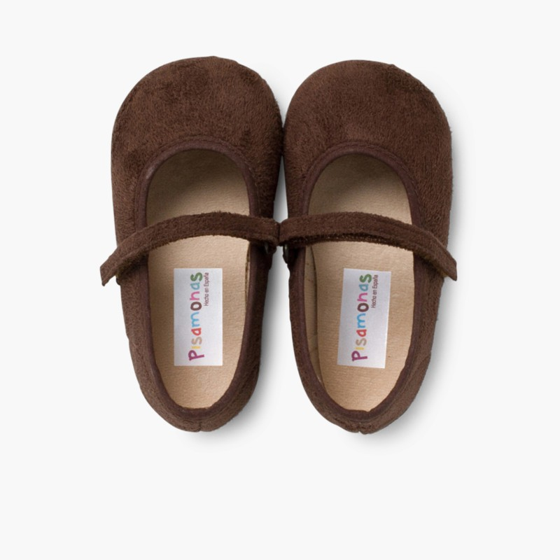 Girl's Riptape Bamara Mary Jane Shoes Brown