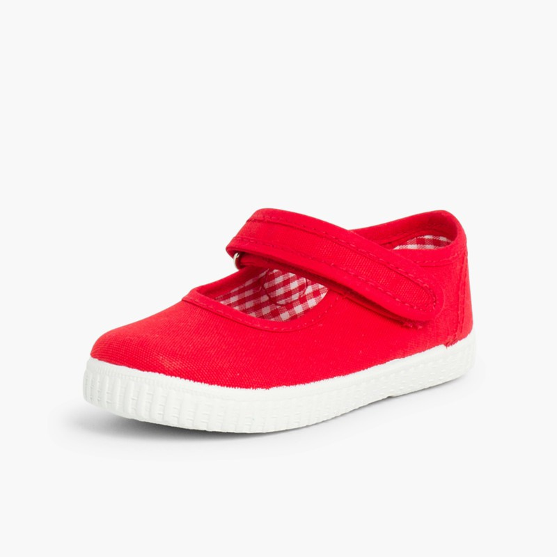 Girls Riptape Mary Janes Red