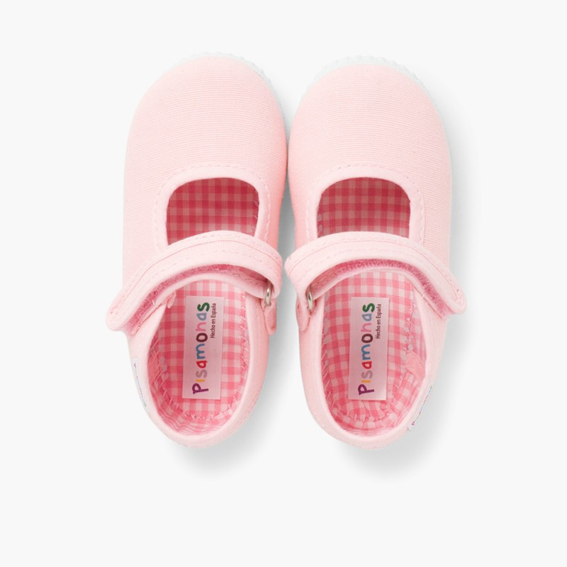 Girls Riptape Mary Janes Pink