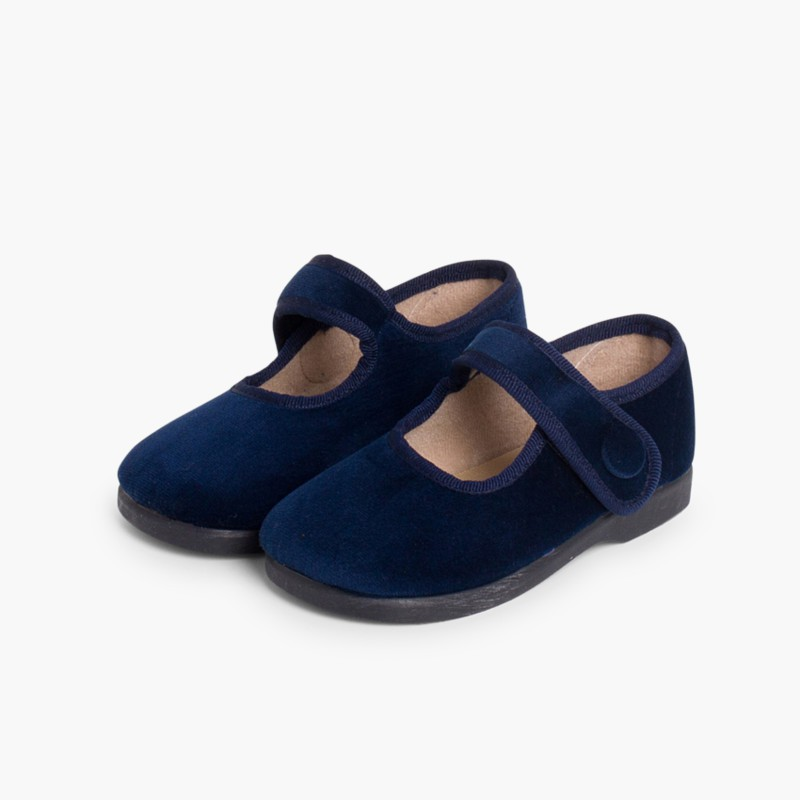 Girls Velvet Mary Janes with Velcro Button Navy Blue