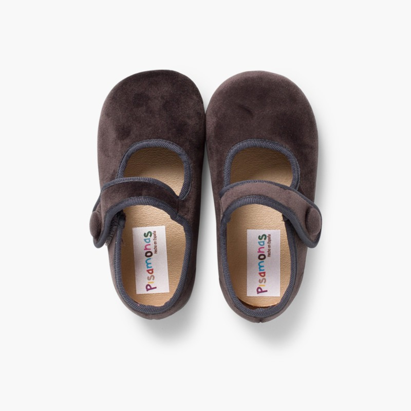 Girls Velvet Mary Janes with Velcro Button Grey