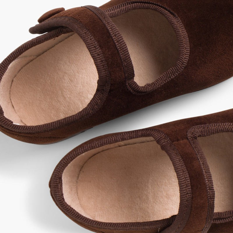 Girls Velvet Mary Janes with Velcro Button Brown