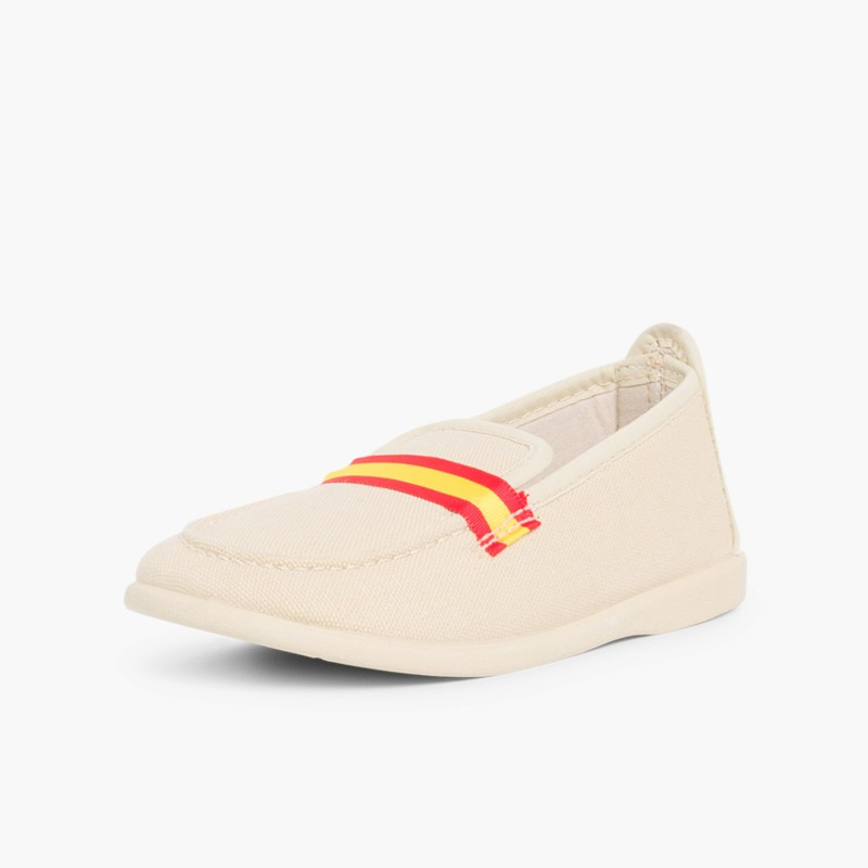 Boy's Coloured Band Canvas Loafers Big Sizes Big Sizes Sand