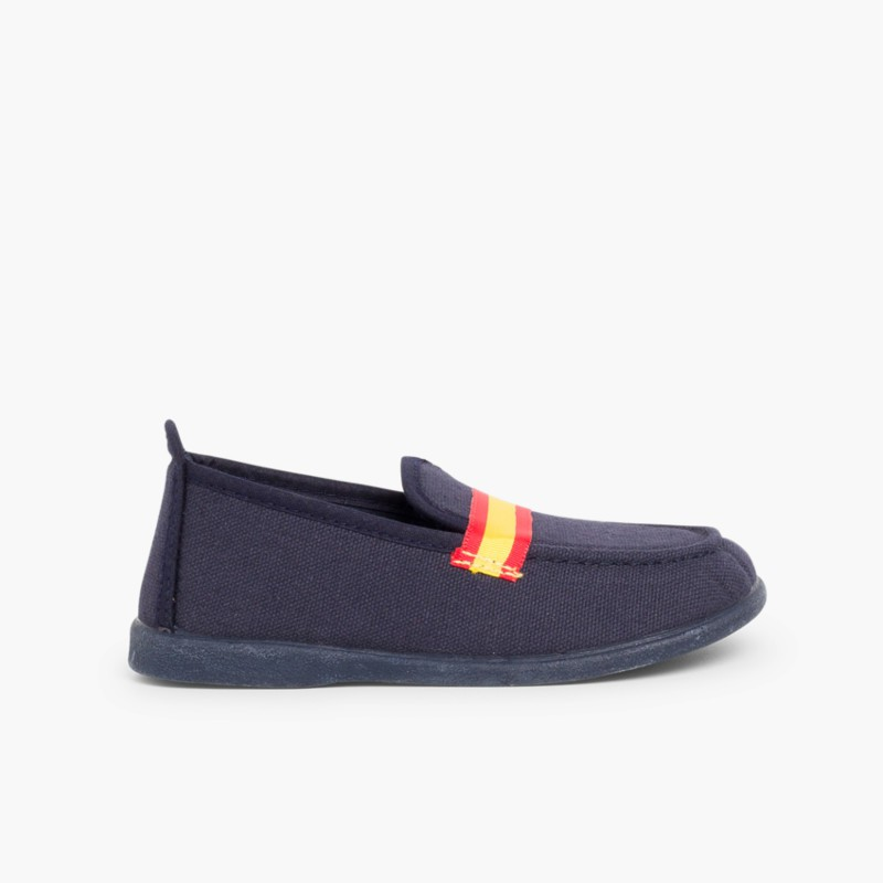 Boy's Coloured Band Canvas Loafers Big Sizes Big Sizes Navy
