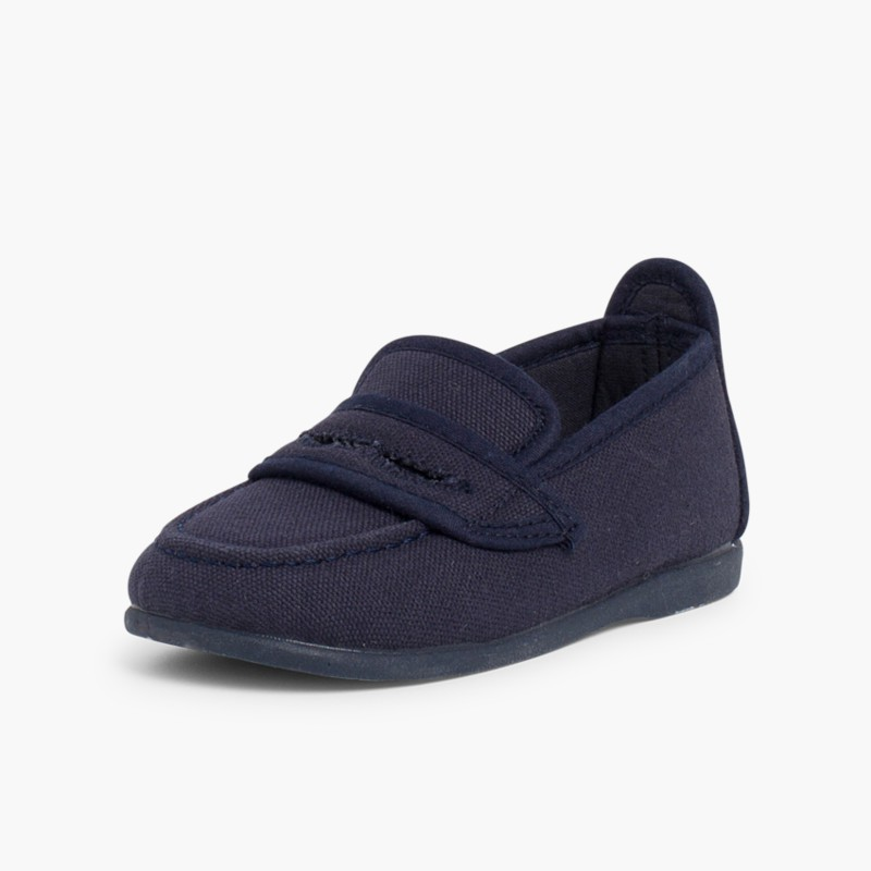 Boy's Plain Canvas Loafers Navy Blue