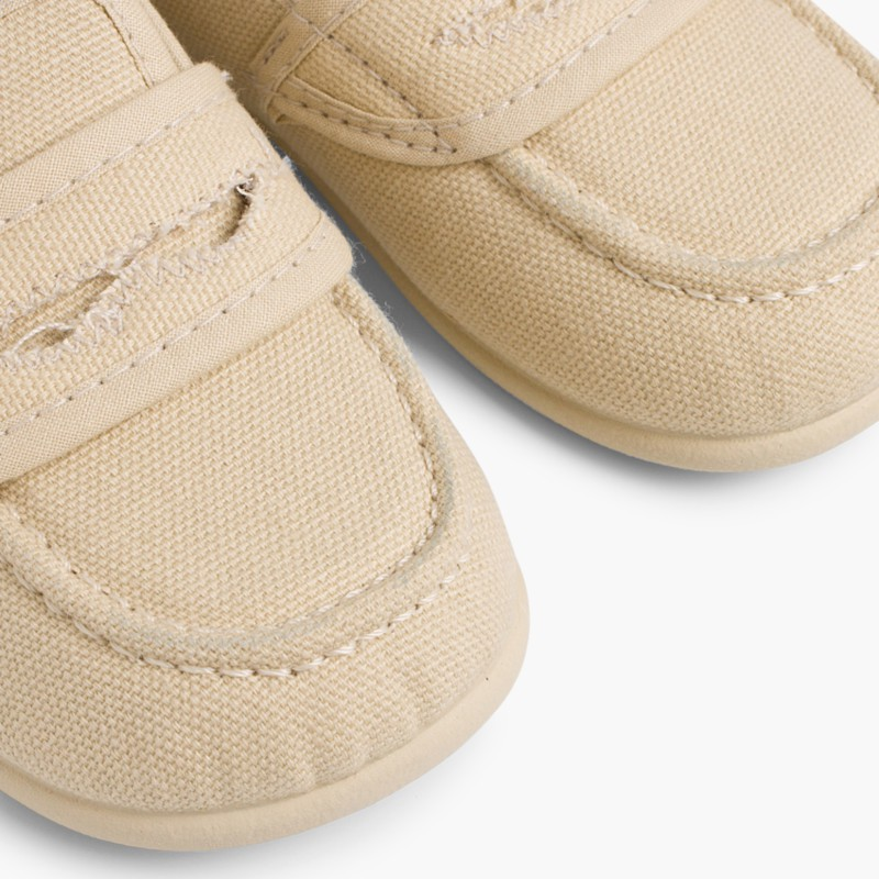 Boy's Plain Canvas Loafers Taupe