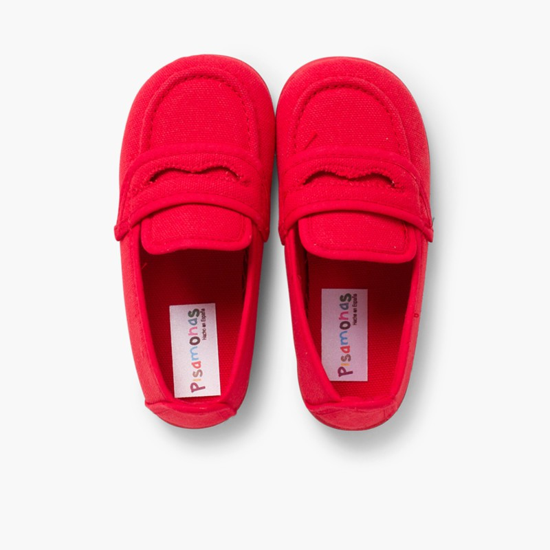 Boy's Plain Canvas Loafers Red