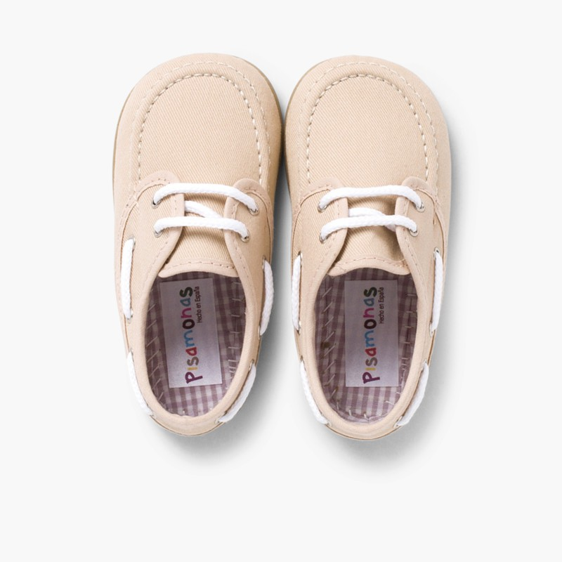 Boys Lace-Up Canvas Boat Shoes Sand