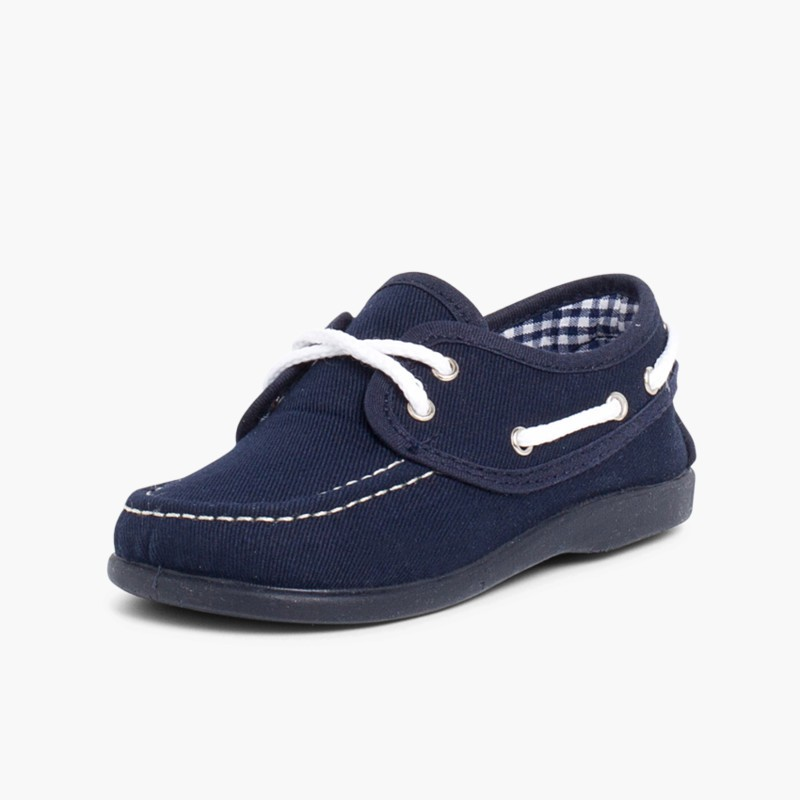 Boys Lace-Up Canvas Boat Shoes Navy Blue