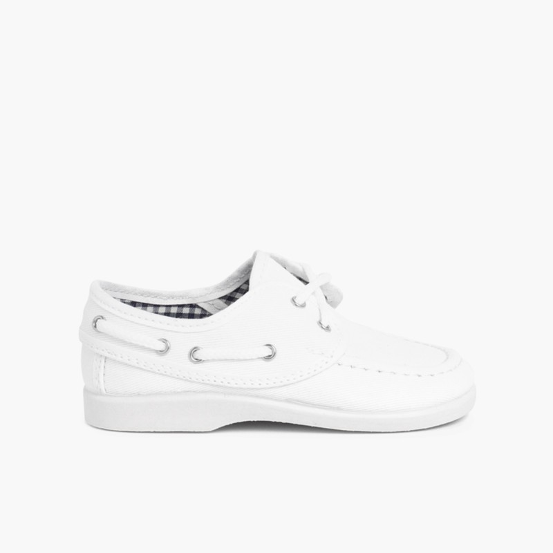 Boys Lace-Up Canvas Boat Shoes White